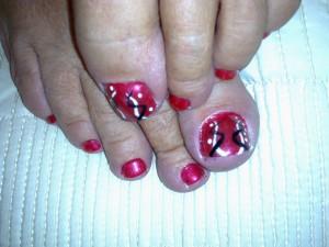 hot chilli shellac st helens ribbons nail art